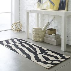 Modmix Stripe Jute Rug #westelm....something like this with more graphic pattern (maybe not black) would liven up the bathroom hallway! 30-150$ depending on size