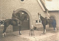 John' s Grandfather Hector van Coehoorn van Sminia and his son Arent (in the 1930s)admiring their winning cup for breeding top horses in Holland.