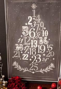 Chalkboard Advent Calendar Free Printable Poster