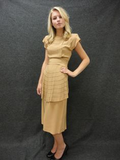 30s Dress // Vintage Tan Day Dress Size S by RobinandWrenVintage, $195.00