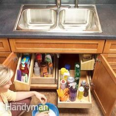 How to Build Kitchen Sink Storage Trays: Construct roll-out trays for extra storage space in the sink base cabinet. http://www.familyhandyman.com/kitchen/storage/how-to-build-kitchen-sink-storage-trays/view-all