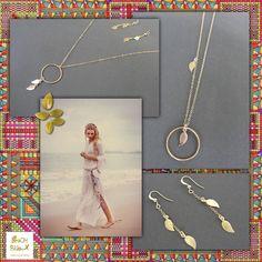 Collection Or : sautoir anneau et pendentifs feuille. : Collier par beachbijoux