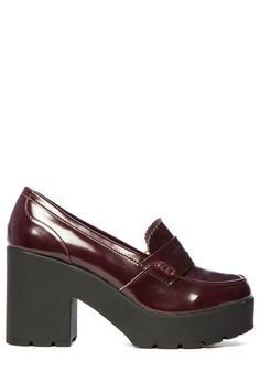 Burgundy Penny Loafer Chunky Boots #newin #musthave #TALLYWEiJL