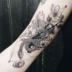 Black rat snake chasing a vole with magnolia flowers on inner upper arm. Have you seen the way these snakes climb trees? Opposite a healed piece of bats and cacti! thanks Cassandra!