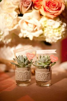How cute and easy are these succulent favors? Inexpensive short glasses, ribbon or any fabric/paper trim, succulents you can easily reproduce and a tag if you really wanted one and voila! Perfect for a garden/desert/modern event Wedding Favours, Party Favors, Wedding Gifts, Our Wedding, Wedding Souvenir, Wedding Vintage, Succulent Favors, Wedding Wishes, Just In Case