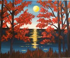 """Between the maples"" acrylic painting by Jonna Wormald for Paint Nite"