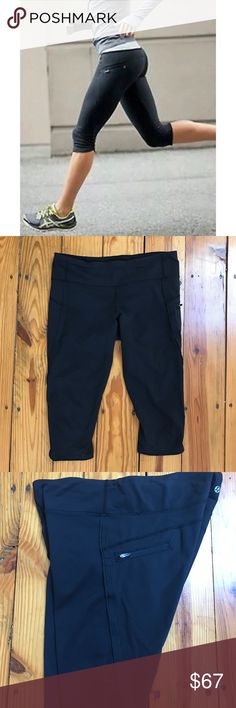 Black Lululemon Capri Run Crops Size 10 Luxtreme fabric, 8/10 condition. Size 10. Side zipper pocket. Rip tag no longer attached. Last photo is of me with actual crops. I am 5'6 and they hit me right below my knees.  **only qualifies for 50% Off Bundle Discount is bundled with 4 other listings lululemon athletica Pants Leggings