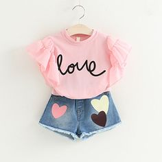 Fashion Girls Clothing Set Summer Baby Girls Clothes White Jacket Flower Decoration+Denim Shorts Children Clothes The Effective Pictures We Offer You About Children Clothing store A quality picture ca Baby Outfits, Cool Girl Outfits, Girls Fashion Clothes, Short Outfits, Fashion Kids, Toddler Outfits, Kids Outfits, Summer Outfits, Style Fashion