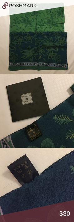 NEW MARJA KURKI Pure Silk Scarf New MARJA KURKI pure silk scarf. Very pretty pattern, soft and lightweight. Marja Kurki Accessories Scarves & Wraps