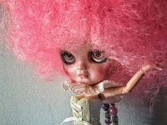 Lalà Icy doll ooak fashion doll pink afro style by BlytheMe78