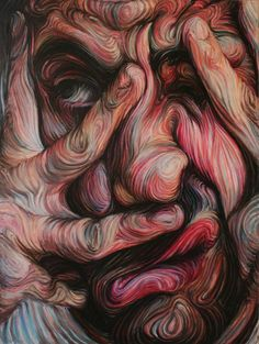Swirling, Psychedelic Self Portraits by Nikos Gyftakis