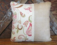 Shabby Chic Burlap Pillow