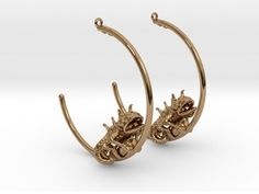 Chameleon Hoops  in Polished Brass
