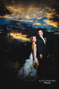Unique Sunset Wedding Photography by Gatlinburg Photo. Great Smoky Mountains, Tennessee