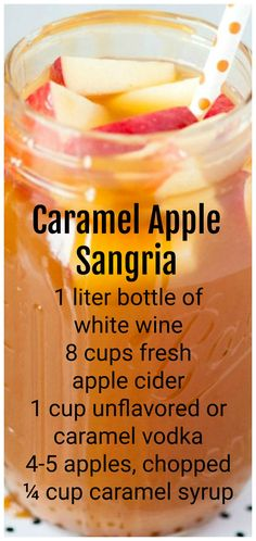 Jazz up your Halloween festivities with this delicious, seasonal caramel apple sangria! Get the recipe at The Sweetest Occasion Blackberry Sangria, Caramel Apple Sangria, Caramel Vodka, Peach Sangria, Caramel Apples, Caramel Deserts, Moscato Sangria, Alcohol Drink Recipes, Vodka Drinks