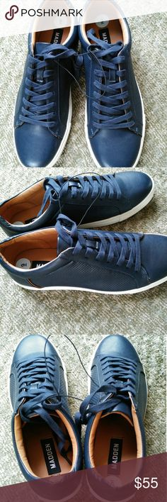 NWT. Men's Steve Madden Leather Casuals NWT. Men's Steve Madden Leather Casuals Color: Navy Blue Size: 9 Steve Madden Shoes Sneakers