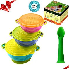 Per Baby Kids Child Feeding Training Sucker Bowl With a Temperature Sensing Spoon and a Snap Tight Lid Yellow Baby Stay Put Suction Bowls Set