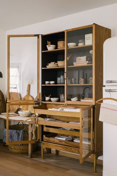 The Haberdasher's Kitchen is inspired by the units found in haberdashery shops. You may remember opening glass doors and sliding drawers, row upon r… - Decoration For Home Haberdashery Shop, Devol Kitchens, Sweet Home, New Kitchen, Room Kitchen, Dining Room, Kitchen Cabinets, Mid Century Furniture, My New Room