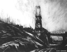 The Price of Coal exhibition opens at Y Galeri in Caerphilly as part of the commemoration of the Senghenydd mining disaster centenary. Landscape Drawings, Landscape Prints, Landscape Art, Industrial Paintings, Building Drawing, City Illustration, Sense Of Place, Urban Life, Horror Art