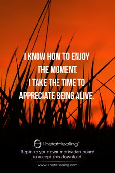 ThetaHealing Download: I know how to enjoy the moment. I take the time to appreciate being alive.