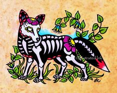 Hey, I found this really awesome Etsy listing at https://www.etsy.com/listing/210019274/day-of-the-dead-fox-dia-de-los-muertos