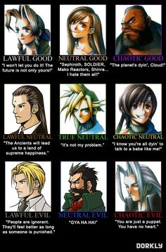 Awful Good: Final Fantasy VII Alignment Chart - Dorkly Article