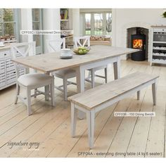 New Benson Grey Painted Furniture Extending Dining Table Two Chairs and Bench Set Dining Furniture Sets. Fashion is a popular style Grey Dining Tables, Dining Table With Bench, Table Seating, Extendable Dining Table, Dining Set, Dining Rooms, Dining Chairs, Grey Painted Furniture, Wooden Furniture