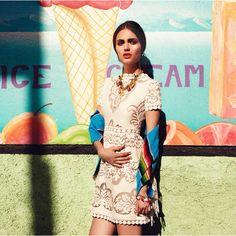Mini vestido de algodón con sarape