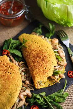 These Banh Xeo are beautifully light and crisp savoury Vietnamese pancakes stuffed with pork, prawns and beansprouts.