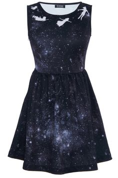 White Peter Pan in Galaxy Print Dress. Oh my gosh! Haha, gives a whole new meaning to 'peter pan collar' (;