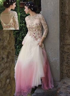 Shaded Pink White Embroidery Cut Work Net Wedding Gown