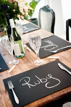 Cute idea for a dinner party, decorating, and entertaining cheaply. Easy DIY project from used or old placemats. Just spray with chalkboard spray paint. Diy Party Decorations, Decoration Table, Festa Party, Chalkboard Paint, Chalk Paint, Chalkboard Table, Chalkboard Ideas, Chalk Ideas, Chalkboard Wedding