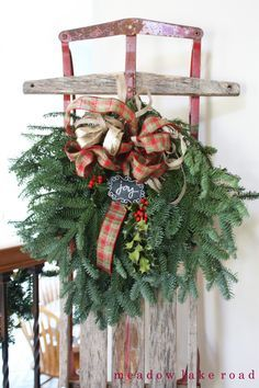 Image result for how to decorate a vintage sled for christmas
