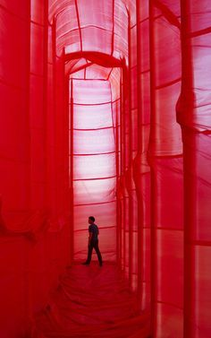 """""""Conquered by the inflatable, the place is transformed through the new texture, light and monochrome colour. The original site loses its rou..."""
