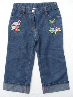Gymboree Blue Jeans Pink Flamingo Design, 100% Cotton Button & Zip, Girls 8 #Gymboree #CapriCropped