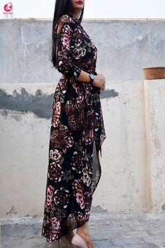 Blue Black Multicolor Georgette Floral Long Shrug - Shrugs Online in India Long Shrug, Absolutely Stunning, Beautiful, That Look, Floral Prints, India, Blue, Dresses, Women