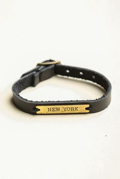 Brandy ♥ Melville | Black Leather Bracelet With New York Plate - Bracelets - Jewelry - Accessories