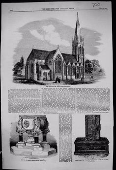 Old Orginal Print 1858 Church St Mary Stoke Newington Bible Font Inglis Local History, Taj Mahal, Mary, Bible, London, Architecture, Roads, Building, Illustration