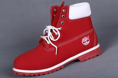 Timberland  Men 6 inch zip Red White,Fashion Winter Timberland Women Boots