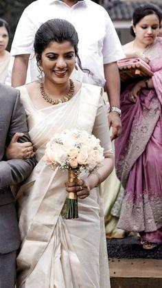 Christian Bridal Saree, Christian Bride, Cheap Wedding Dress, Bridal Sari, Indian Bridal, Bridal Dresses, White Saree Wedding, White Bridal