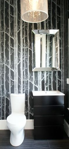 I like the idea of graphic wall paper for a powder room