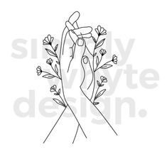 Hands Holding Flowers Clipart - Hand Flowers - Digital Clipart | Digital Vector Illustration | eps, svg, png, jpg, instant download