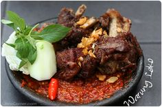 Iga Penyet - Indonesian smashed grill ribs over chili sauce