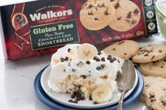 Banana Chocolate Chip Shortbread Icebox Cake made with Walkers shortbread