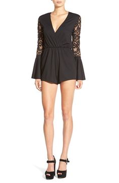Missguided Lace Back Surplice Romper available at #Nordstrom