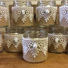 10X Shabby Chic Vintage Hand Decorated Tea Light Holder/ Vase Jam Jars + Lids
