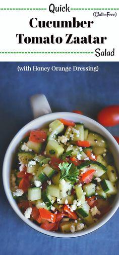 Quick Cucumber Tomato Zaatar Salad : #mediterranean #zaatar #cucumber #salad #glutenfree