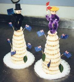 Almond ringkage (Dansk nyt aars Kransekage) served new years eve in Denmark. www.Denmark-Getaway.com