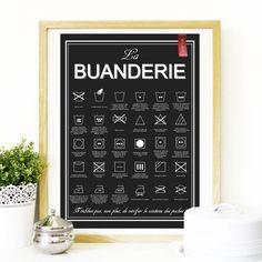 Affiche très sympa à accrocher au dessus du lave-linge, ou dans la buanderie, le débarras...Elle nous permettra de savoir ce que tous ces symboles signifient !  Fichier à té - 14378533