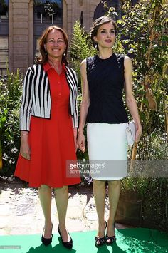 French Environment Minister Segolene Royal (L) and Spain's Queen Letizia pose during the opening of the 2nd Global Conference on Health and Climate on July 7, 2016 in Paris.  / AFP / BERTRAND GUAY        (Photo credit should read BERTRAND GUAY/AFP/Getty Images)